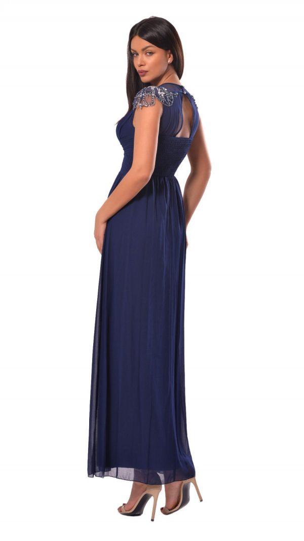 Rochie maxi albastra cu falduri