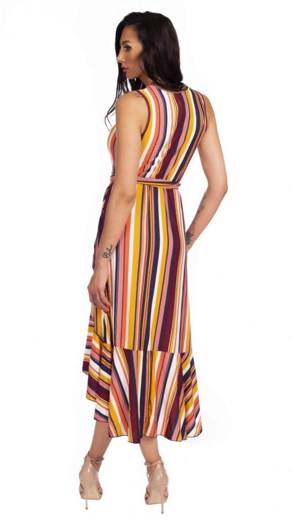 Rochie asimetrica midi multicolora